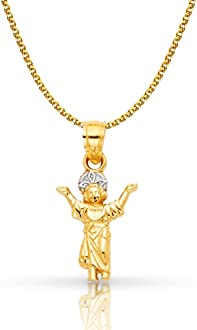 14K Tri Color Gold Praying Hands Pendant with 1.7mm Flat Open Wheat Chain Chain Necklace