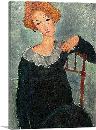 "ARTCANVAS Woman with Red Hair 1917 Canvas Art Print by Amedeo Modigliani - 18"" x 12"" (0.75"" Deep)"