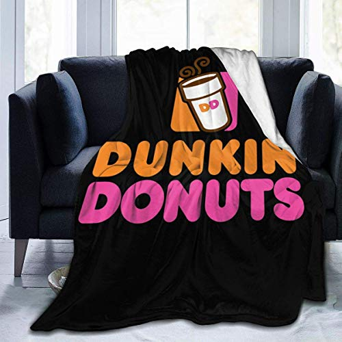 Hengtaichang Dunkin Donuts Logo 3D Print Flannel Fleece Blanket Throw Reversible Super Soft Warm Cozy Comforter Blankets Fall Winter Blanket