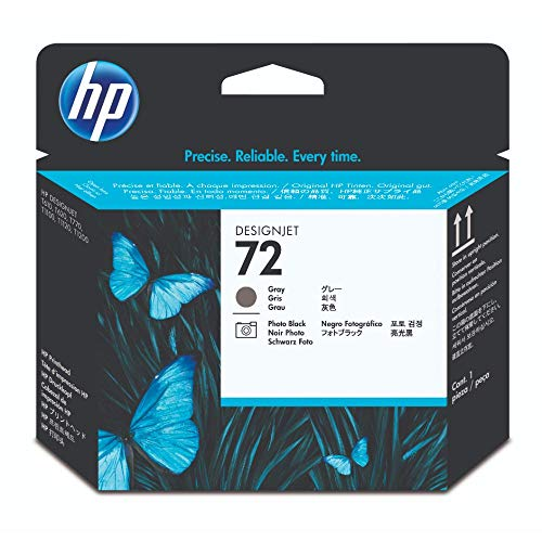 HP 72 Originaler DesignJet Druckkopf (C9380A) in Grau & Fotoschwarz, für HP DesignJet T2300 eMFP, T1300, T1200, T1120, T1100, T1100 MFP, T795, T790, T770, T620, T610 & T600 Großformatdrucker