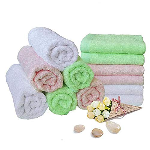 Baby Washcloths Bamboo Bath Towels Organic Reusable Baby Wipes - Hypoallergenic Ultra Soft and Absorbent Face Towel for Sensitive Skin Baby Registry As Shower Gift 12 Pack Baby Wash Cloth 10x10 Inche