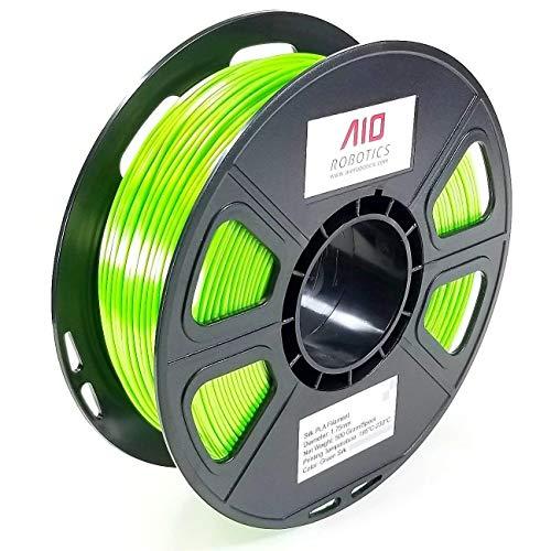AIO Robotics Aiogreensilk PLA imprimante 3D Filament, Bobine DE 0.5kg, Précision Dimensionnelle +/-0,02mm, 1.75mm, Soie Vert