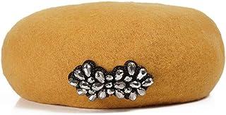 100 % Wool Beret Warm Felt Solid Color Adjustable Classic Rhinestone Flat Cap(56-57.5cm)