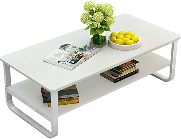 Living Room Coffee Table Rectangular Double Layer Coffee Desk Simple Modern Furniture Coffee Table With Storage Shelf For Cocktail Party Sundries Organizer Home Decor White