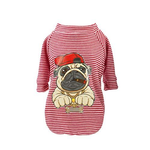 YiiJee Casual Streifen Hunde Weste Baumwolle Weich Hundebekleidung Tier Drucken Hunde T-Shirt für kleine mittelgroße Hunde Als Bild1 S