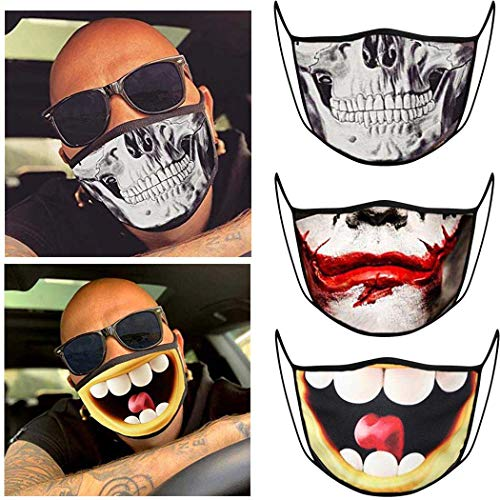 GortinDust-proof Mouth Cover Funny Pattern Halloween Personality Cartoon Mouth Shield Washable Mouth Covering Breathable and Reusable Party Decoration for Women and Men Pack of 3