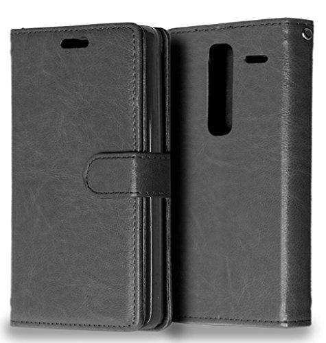 FUBAODA LG Class/Zero Tasche Schwarz + Kostenlos Syncwire Ladekabel, Leder Hülle, Flip Leder Money Karte Slot Brieftasche, Kartenfächer Ständerfunktion für LG Class/Zero (H740) (schwarz)