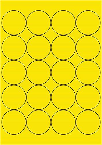 100 Etiketten Farbetiketten selbstklebend rund 50 mm GELB permanent klebend auf Bogen A4 (5 Bögen x 20 Etik.)