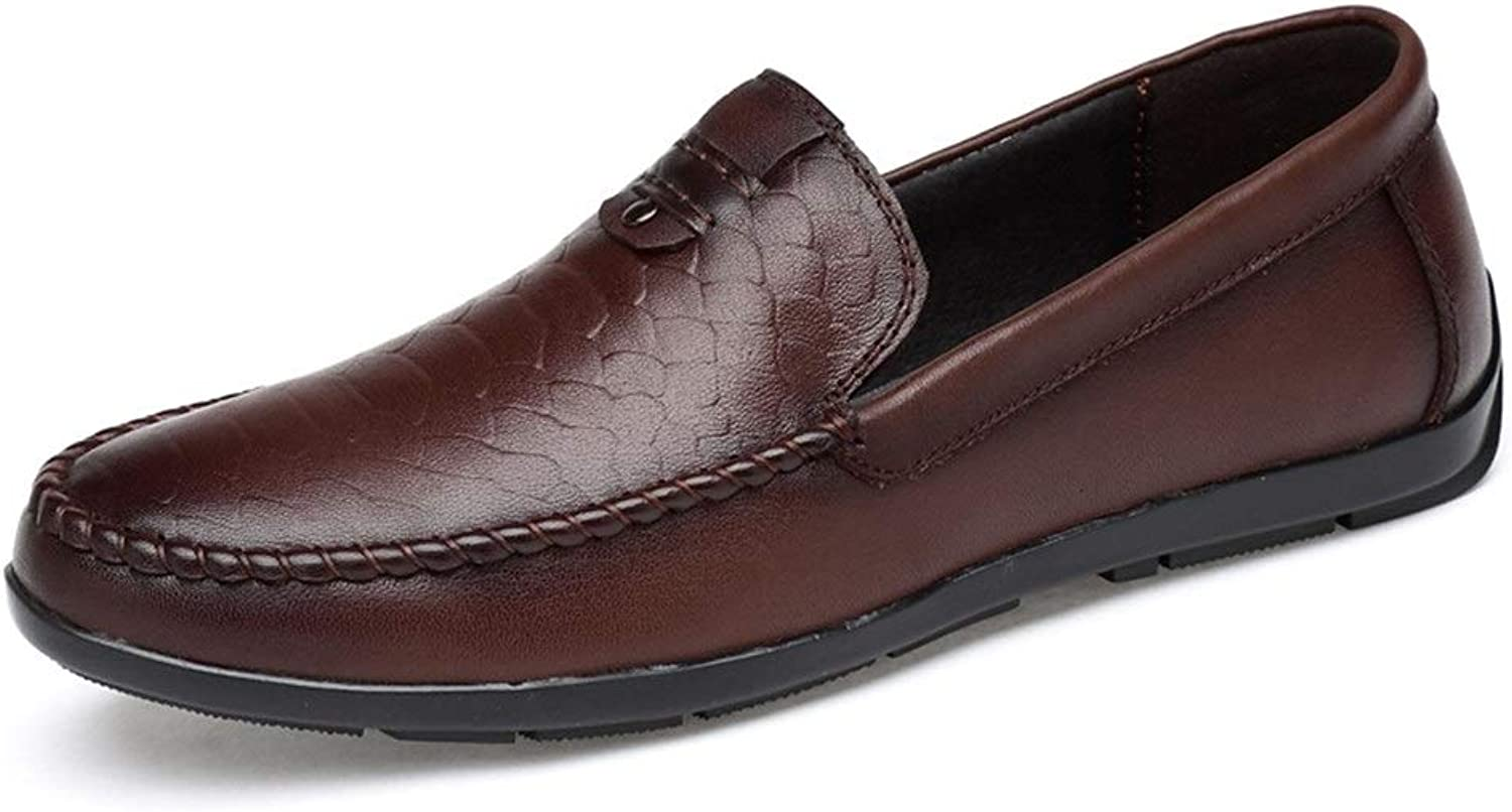 Easy Go Shopping Driving Loafer For Men Boat Moccasins Slip On OX Leather Lightweight Round Toe shoes Cricket shoes (color   DarkBrown, Size   7 UK)