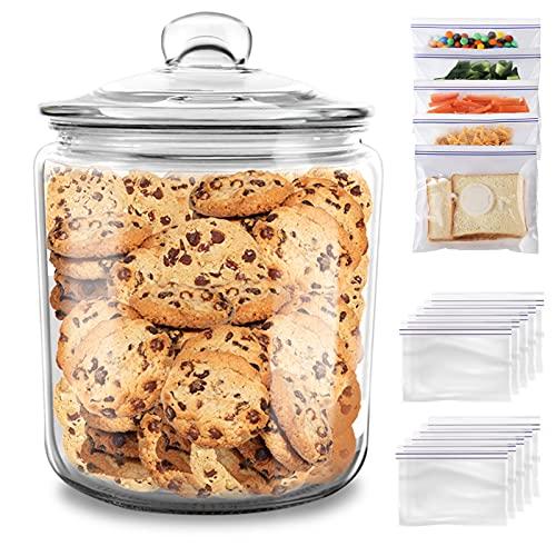 MASTERTOP Bocal à Biscuits en Verre 3,9L avec Couvercle Hermétique, Grand Pot à Biscuits de Conservation en Verre Résistant avec Grand Calibre pour Bonbons, Farines et d'Autre Aliments