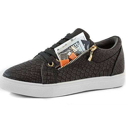 Dailyshoes Women's Fashion Sneakers Skate Shoes Low Top Lace Up Zipped Pocket Sports Winter Thick Bottom Warm Comfortable Side Flat Sneaker Fiona-99 Black Pu 8