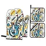 Guanti da forno e presine, set di 4, chitarra solista, guanti per barbecue con cuscinetti caldi resistenti per cucina, cottura, cottura al forno, grigliate