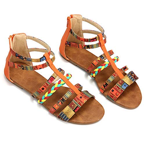 Camfosy Summer Flat Sandals for Women, Womens Beach Sandals Strappy Sandals Gladiator Shoes Wide Width Open Toe Summer Shoes Ankle Strap Sandals Casual Flip Flops Orange 9 M US