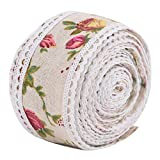 Diy encaje flor de paeonia arpillera rollo de cinta de arpillera de arpillera de arpillera de yute decoración de tela de boda 5 m