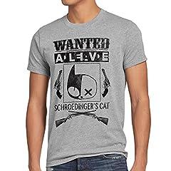 Wanted Gato de Schrödinger Camiseta para Hombre T-Shirt Sheldon
