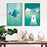 Schöne Minimalistische Cartoon Wal Eisbär Poster Leinwand