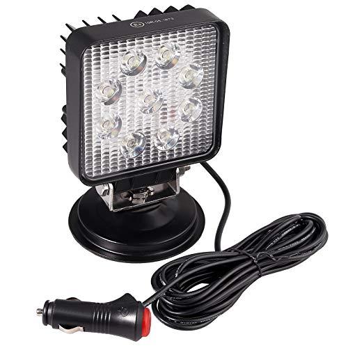 Justech Phare de Travail LED avec Base Magnétique Slim 27W 9LED Projecteur LED Voiture Allume-Cigare avec Interrupteur 12V 24V Etanche IP67 pour Voiture Camion Tracteur SUV Bateau