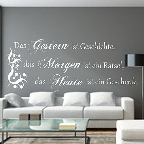 WANDTATTOO Das Gestern ist Geschichte.Spruch Wanddekoration Wohnzimmer Flur Farbe./Größenauswahl art.23091.