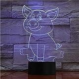 Seulement 1 pièce cochon mignon 3D lampe à LED lampe de table LED USB capteur veilleuses Sculpture mode décorations lampe comme chambre à coucher