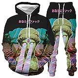 DREAMING-Camiseta de manga larga de primavera y otoño con estampado 3D Pullover Top casual con capucha + pantalones con cordón traje deportivo de 2 piezas para pareja S