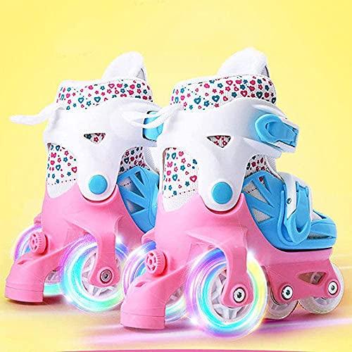 WSJYP Rollschuhe Quad Skates, Schuhe Jugend Kinder Kinder Junior Boy Girl Skates, Klingen Verstellbare Rollschuhe 2 Größe Der Schuhstiefel,23-28-Blue