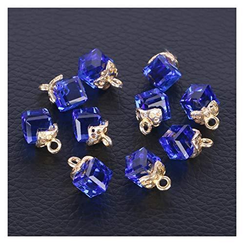 JINAN 10 cuentas sueltas de cristal para hacer joyas, costura, forma cuadrada, agujero de 2 mm (color: azul gema)