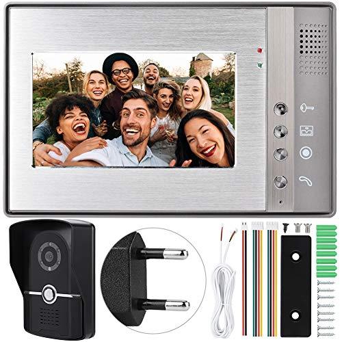 Timbre de intercomunicador visual, videoportero LCD TFT de 7 pulgadas Bewinner, interfono manos libres para el hogar con unidad interior de diseño ultrafino / volumen ajustable (enchufe de la UE)