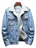 Omoone Men's Lapel Sherpa Fleece Lined Thicken Denim Jean Trucker Jacket Coats (0176-Light Blue-S)