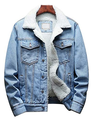 Omoone Men's Lapel Sherpa Fleece Lined Thicken Denim Jean Trucker Jacket Coats (Denim Blue Fleece White, XL)