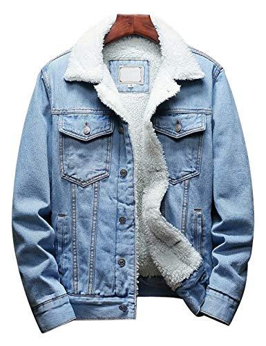 Omoone Men's Lapel Sherpa Fleece Lined Thicken Denim Jean Trucker Jacket Coats (Denim Blue Fleece White, L)