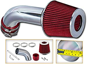 Rtunes Racing Short Ram Air Intake Kit + Filter Combo RED Compatible For 06-08 Audi A3 2.0L / 05-07 Volkswagen Golf / 06-08 Volkswagen Jetta/Passat 2.0L Turbo