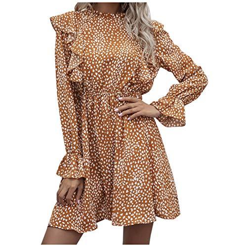 Janly Clearance Sale Vestido para mujer, vestido de manga larga con estampado de leopardo, informal, para vacaciones, verano, color amarillo
