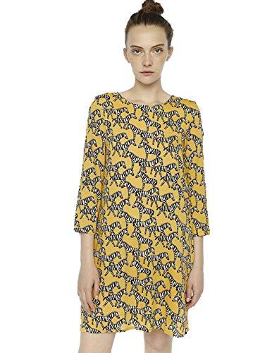 Compañia Fantastica Vestido Mujer Recto Zebras Amarillo