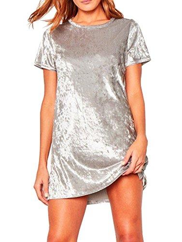 R.Vivimos Women's Summer Short Sleeve Crushed Velvet Mini Short Dresses (Small, Silver)