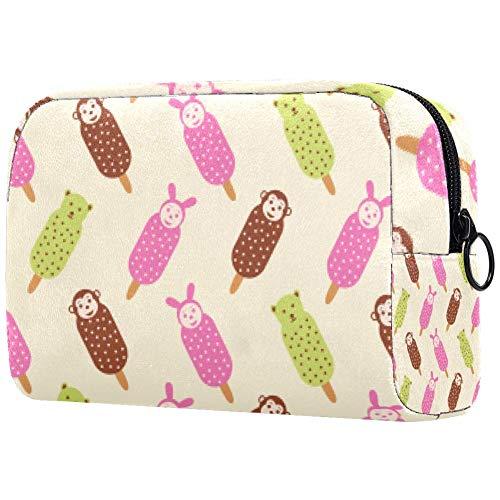 Trousse de toilette portable pour femme, sac à main, cosmétiques, voyage, chocolat, crème glacée, singe