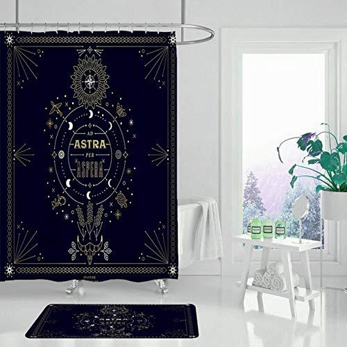KUKUALE Polyester Shower Curtain Divination Eye Bathroom Curtain Set Non-Slip Mat Carpet 180X180CM(71X71IN)