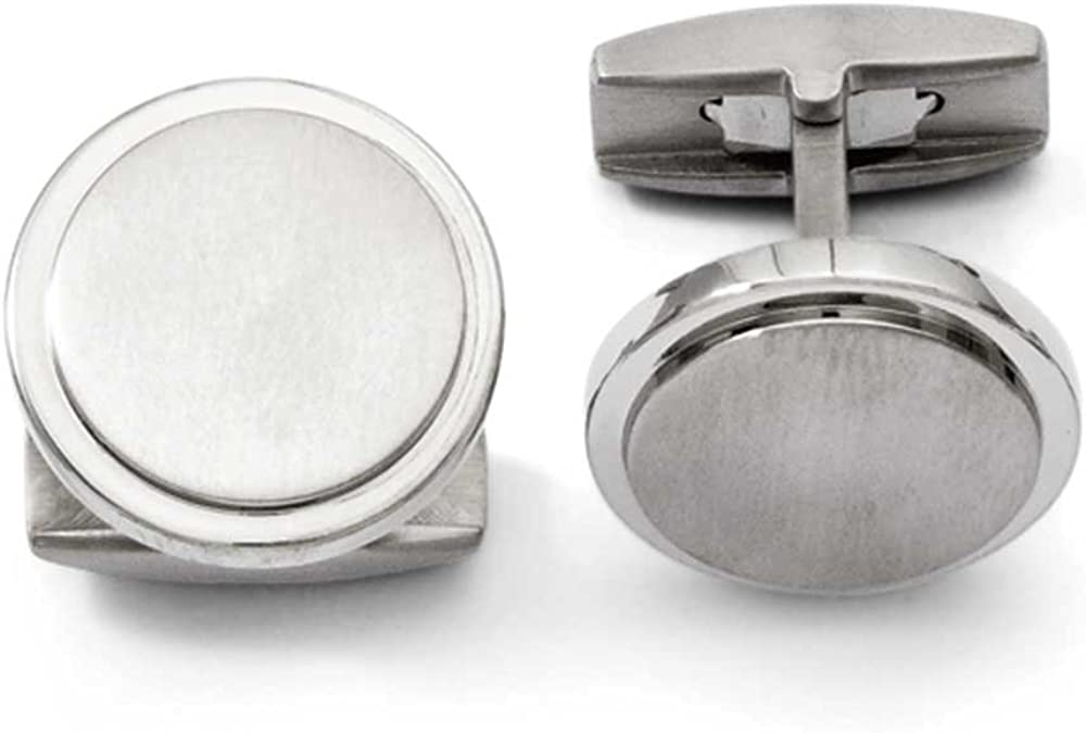 Chisel Brushed and Polished Titanium Cufflinks