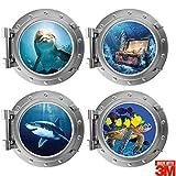 Lot de 4 stickers muraux Hublot trompe l'oeil (30 x 30 cm). Qualité d'autocollants 3M™. Art mural pour la chambre des enfants - Pack Monde Aquatique, Vie sous-marine.
