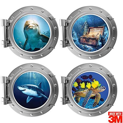 Muursticker Bullauge Bullauge (30 x 30 cm) 3MTM sticker kwaliteit muurkunst voor de kinderkamer - set waterwereld, onderwaterleven