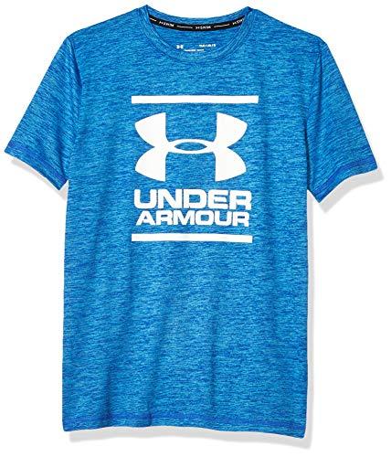 Under Armour Boys' Big Short Sleeve Rashguard, Versa Blue sp201, YX-Large