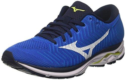 Mizuno Waveknit R1, Zapatillas de Running para Hombre, Azul (Brilliantblue/White/Safetyyellow 01), 44 EU