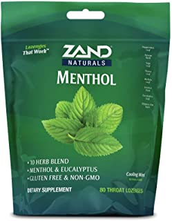 Zand HerbaLozenge Menthol | Peppermint & Eucalyptus Lozenges w/Herbal Blend for Soothing Throat | No Corn Syrup or Cane Su...