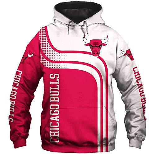 LIULL Sport Hoodiepullover Chicago Bulls Basketball Digital-Sweatshirt Druck Baseball Uniform Teens Jacke A-XXL