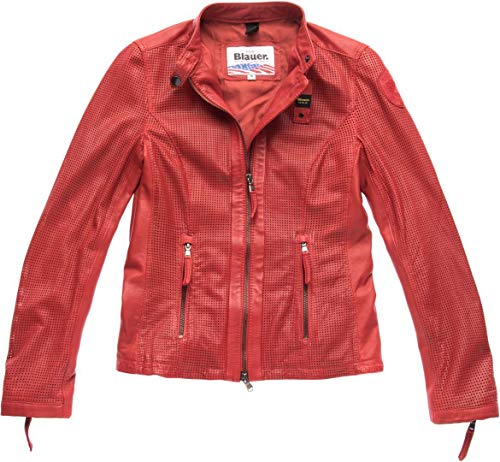 Blauer USA Miller - Giacca in pelle da donna perforata rosso Rot s
