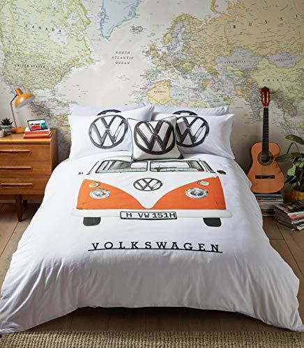 VW Official Bedding - Orange Campervan Duvet Cover Set (Single Duvet Cover Set 137cm x 200cm)