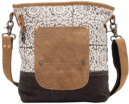 Myra Bag Pivot Upcycled Canvas & Leather Shoulder Bag S-1445