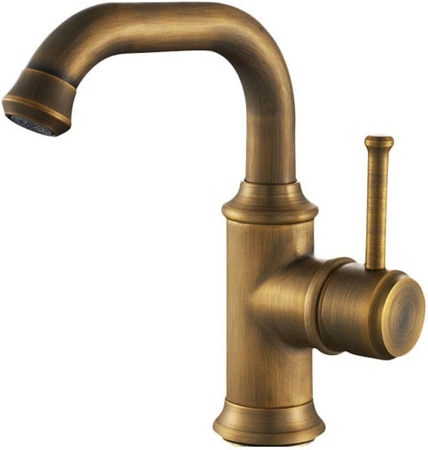 AQMMi Bathroom Sink Faucet Basin Mixer Tap Antique Swivel Brass Hot and Cold Water Single Lever Single Hole Basin Sink Tap Bathroom Bar Faucet