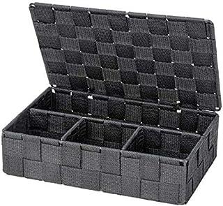 WENKO Organiseur Adria petit avec couvercle gris foncé - Panier de salle de bain avec couvercle et 4 compartiments, Polypr...