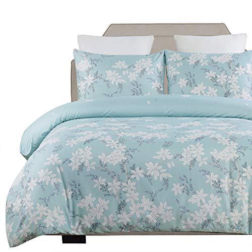 Vaulia Lightweight Microfiber Duvet Cover Set, Print Floral Pattern Design, Blue - Queen Size