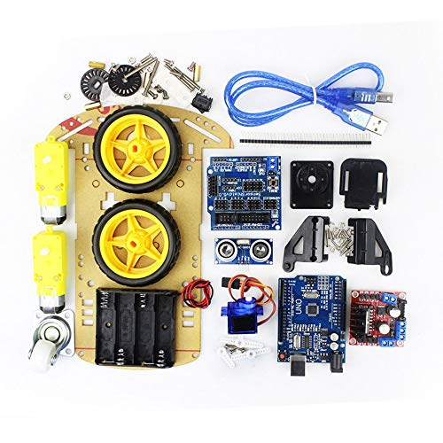 ACEHE Motor de Seguimiento de evitación de Coche Inteligente Kit de chasis de Coche Robot Inteligente Inteligente Módulo ultrasónico 2WD para Kit Arduino (Colorido)